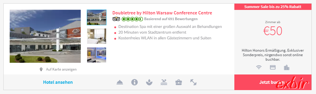 Hilton ab 25€ pro Person.