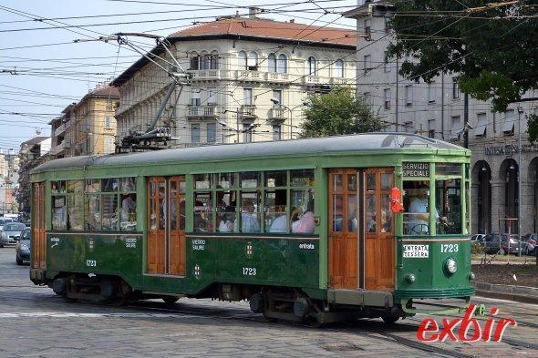 Altmodische Tram im Zentrum Mailands.  Foto: Christian Maskos