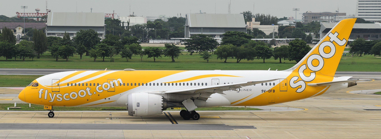 Eine Boeing 787-8 von Scoot auf dem Flughafen Bangkok-Don Muang