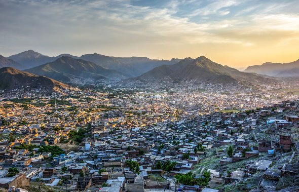 Sunset over the Mingora City, Swat Valley, Pakistan