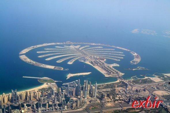 Die künstliche Insel 'The Palm Jumeirah' in Dubai.