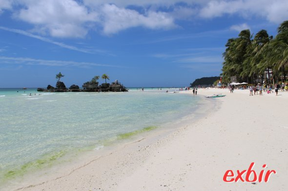 Famous Boracay White BEach.  The Boracay Backpackers is just two minutes away.  photo: Christian Maskos