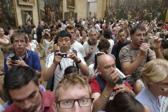 The Mona Lisa (reverse view) Chaos at the Louvre