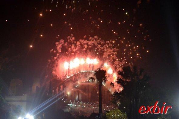 Silvesterfeuerwerk an der Harbour Bridge in Sydney.Foto: Christian Maskos