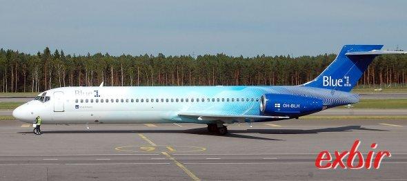 Eine Boeing 717-200 von Blue 1 auf dem Flughafen Helsinki-Vantaa.  Foto: Christian Maskos