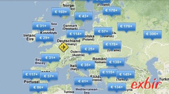 Wie weit komme ich für mein Geld?   Die Karte zeigt stets aktuell übersichtlich an, wie weit Ihr mit Eurem Wunschbudget fliegen könnt.  Besonders nützlich bei Aktionen der großen Liniencarrier oder zur Planung von Rundreisen mit normalen Airlines.