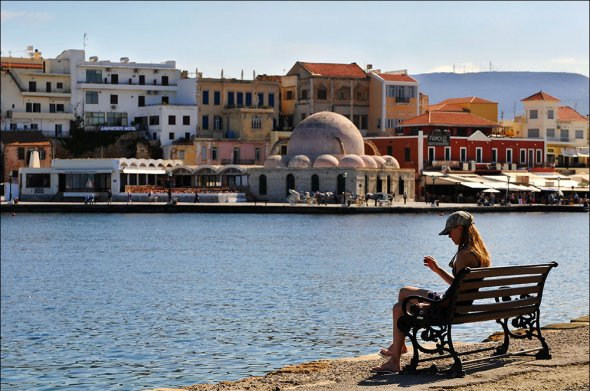 skyline with mosque of chania,  During our fall holydays on the greek island crete, we visited the old town Chania.