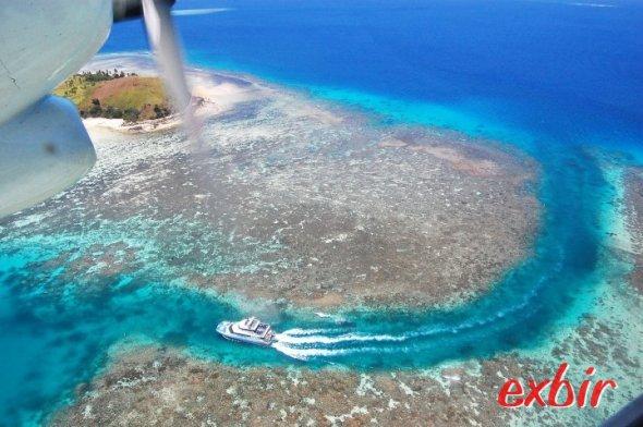Abflug von Mana Island auf den Fidschi-Inseln.  Foto: Christian Maskos