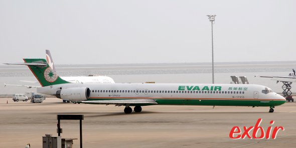 Eva Air MD 90 in Macau.  Die Airline ist nun eine 5* Airline.  Foto: Christian Maskos