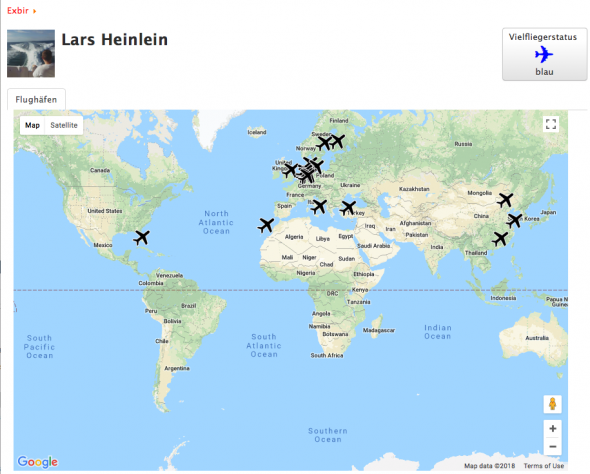 Weltkarte/World Map, Airports,Lars Heinlein,  - Blau/Blue