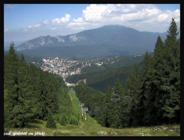 Mount Postavaru and the town of Predeal seen from Clabucet mountain, Carpathians, Romania - hdr