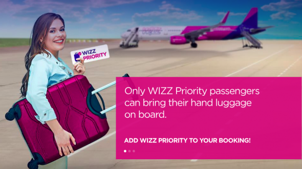 Screenshot von www.wizzair.com