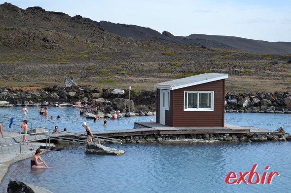 Baden im heissen Thermalwasser im Myvatn Nature Bath.  Foto: Christian Maskos