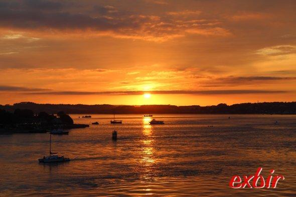 Sonnenuntergang in Plymouth an der Grenze von Cornwall und Devon.  Foto: Christian Maskos