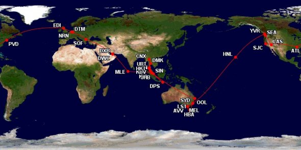Beispiel einer Weltreise mit Billigfliegern.
