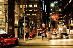 Toronto street at night