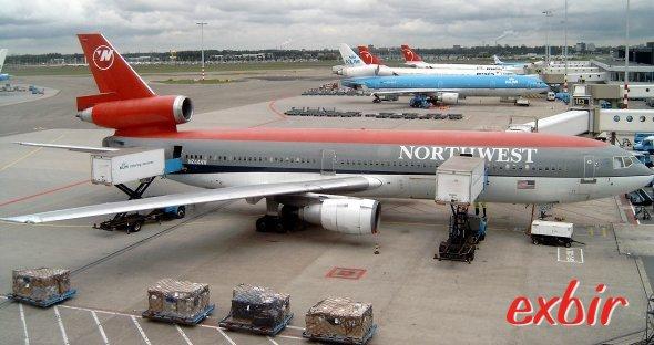 Eine Mc Donell Douglas DC 10 von Northwest in Amsterdam.  Foto: Christian Maskos