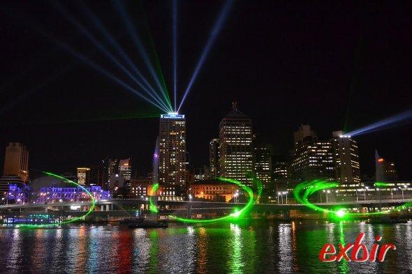 Lasershow in Brisbane. Foto: Christian Maskos