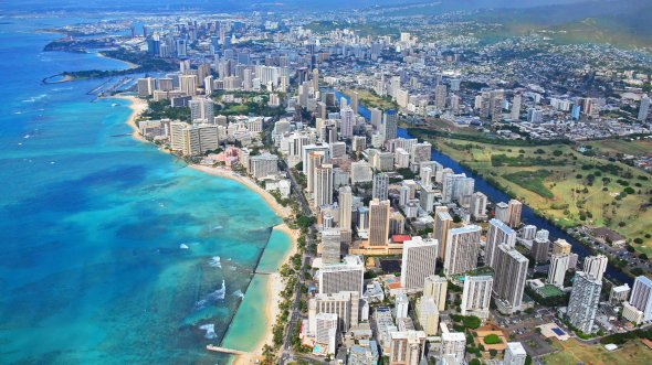 Blick aus dem Helikopter auf Waikiki, Honolulu