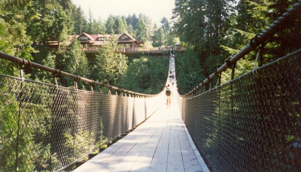 The Capilano Suspension Bridge in Vancouver, Canada.