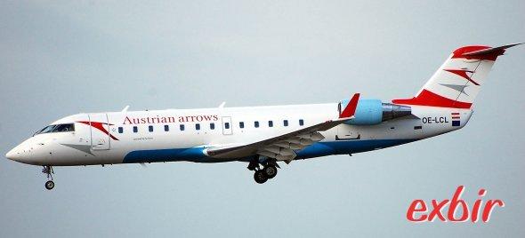 Ein Canadair Regionaljet von Austrian Arrow. Die Muttergesellschaft Austrian Airlines besitzt quasi ein Monopol bei Inlandsflügen in Österreich. Foto: Christian Maskos