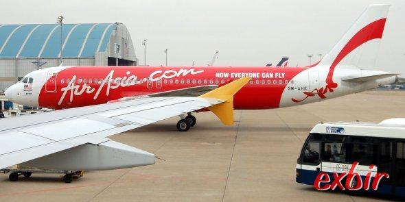 Ein Airbus A 320 von Air Asia auf dem Flugahfen von Macau.  Foto: Christian Maskos