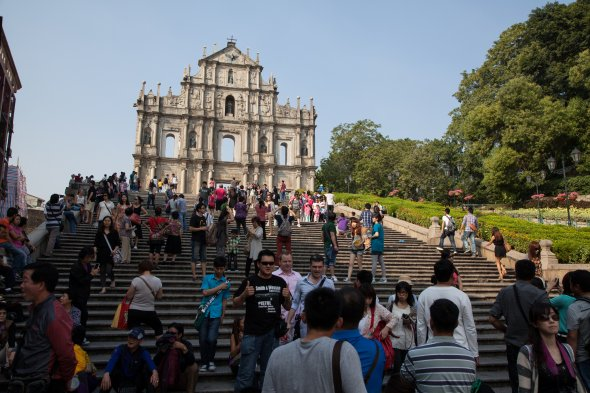 Ruine der St. Pauls Kathedrale in Macao, Asien