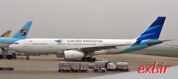 Ein Airbus A 330 von Garuda Indonesia am Flughafen Narita. Foto: Christian Maskos