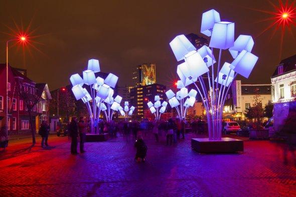 Lichtkunst während der jährlichen Lichtshow Glow in Eindhoven